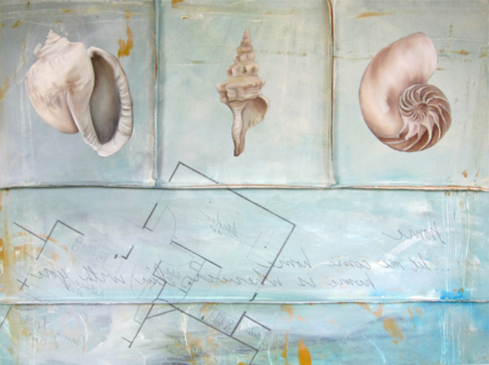 Original art by Internationally acclaimed award winning artist Kristin Llamas beach sea shell painting on canvas