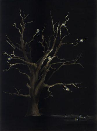 Original tree and light bulb painting by internationally acclaimed artist Kristin Llamas