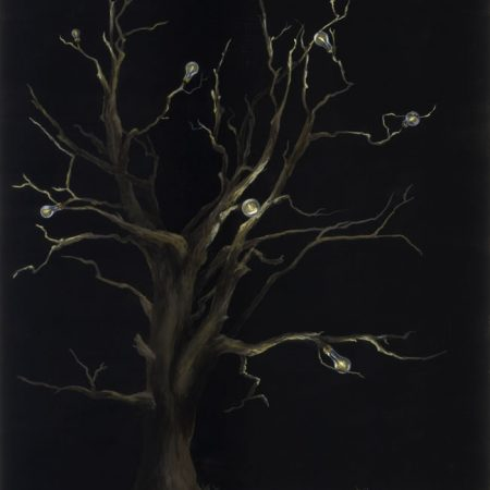 Original tree and light bulb painting by internationally acclaimed artist Kristin Llamas