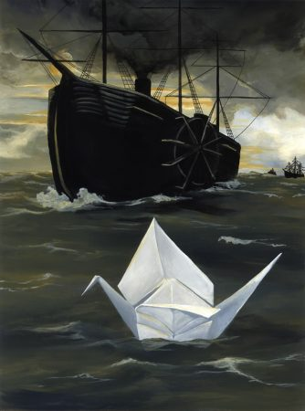 Original origami and boat painting by internationally acclaimed artist Kristin Llamas