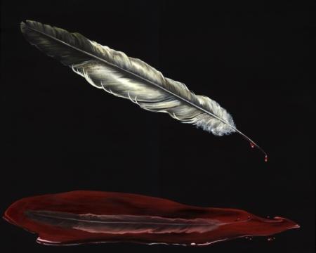 kristin abraham llamas south dakota native american feather painting fine art print original art the nomadic project
