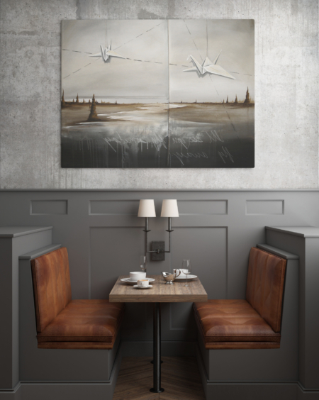 restaurant contemporary art paper cranes painting nashville artist
