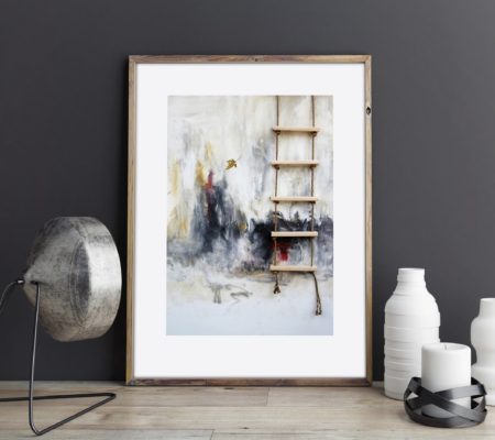 Art by k llamas ladder and leaf print