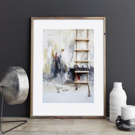 Art by k llamas ladder and leaf print