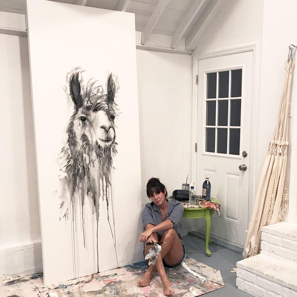 nashville artist kristin llamas painting llamas
