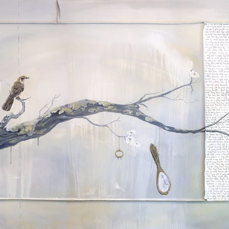 hush little baby lullaby painting of tree branch, bird, diamond ring, and mirror by nashville artist kristin llamas