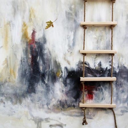 k-llamas-abstract-leaf-ladder-painting