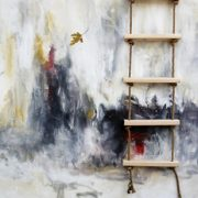 Ladder and leaf painting museum exhibition
