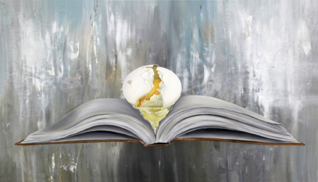 K llamas book and egg painting encyclopedia museum art