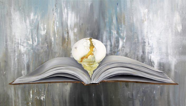 K llamas book and egg painting encyclopedia museum art