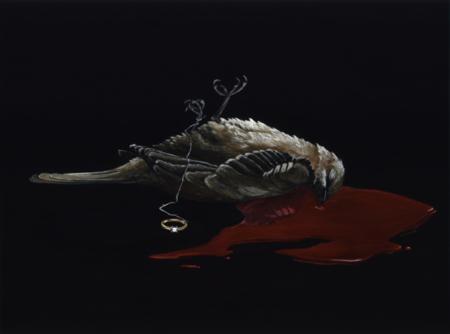 contemporary art painting of a bird and diamond ring by nashville artist kristin llamas