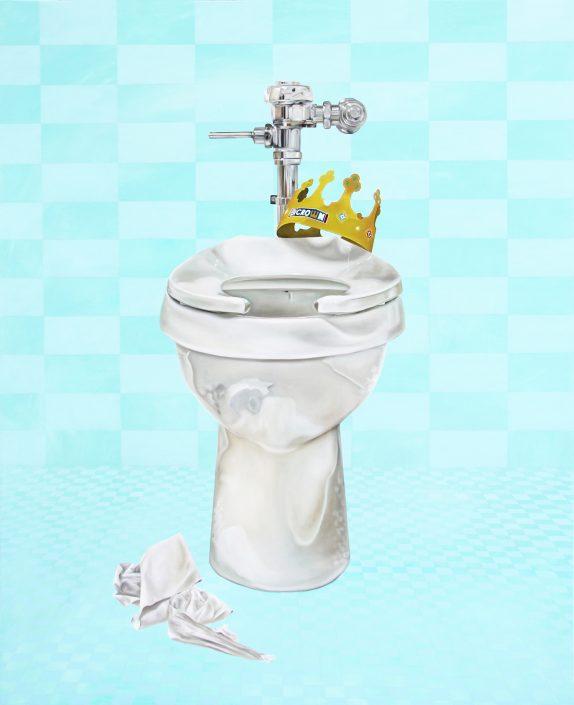 Nashville artist Kristin Llamas paints a toilet for exhibit at the Parthenon Museum