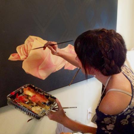 kristin llamas artist painting endless buddhist knot