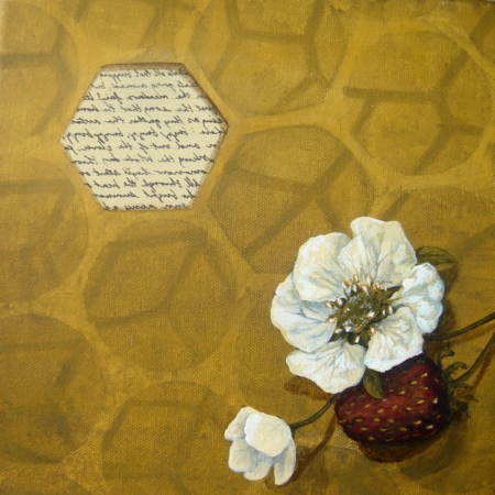 honeycomb flower strawberry honeybee painting k llamas