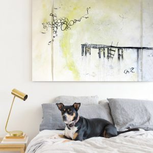 contemporary art painting by modern nashville artist kristin llamas interior with dog on bed