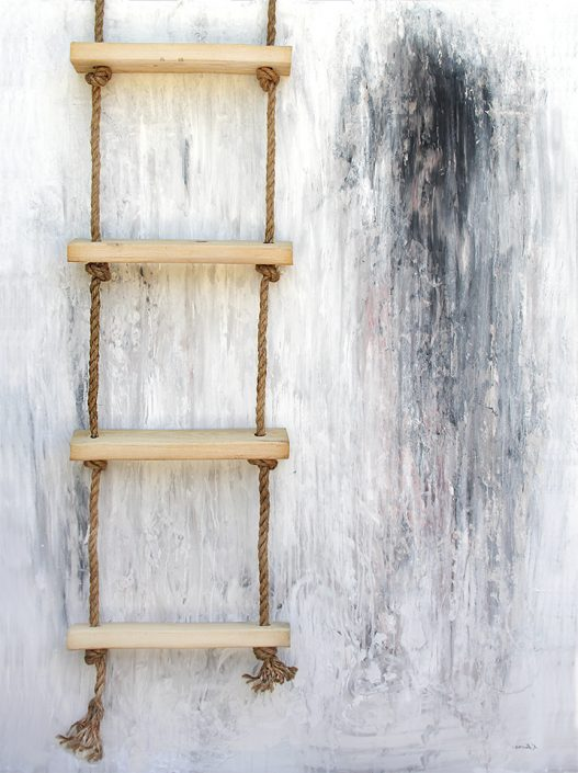 contemporary canvas painting ladder by nashville artist kristin llamas
